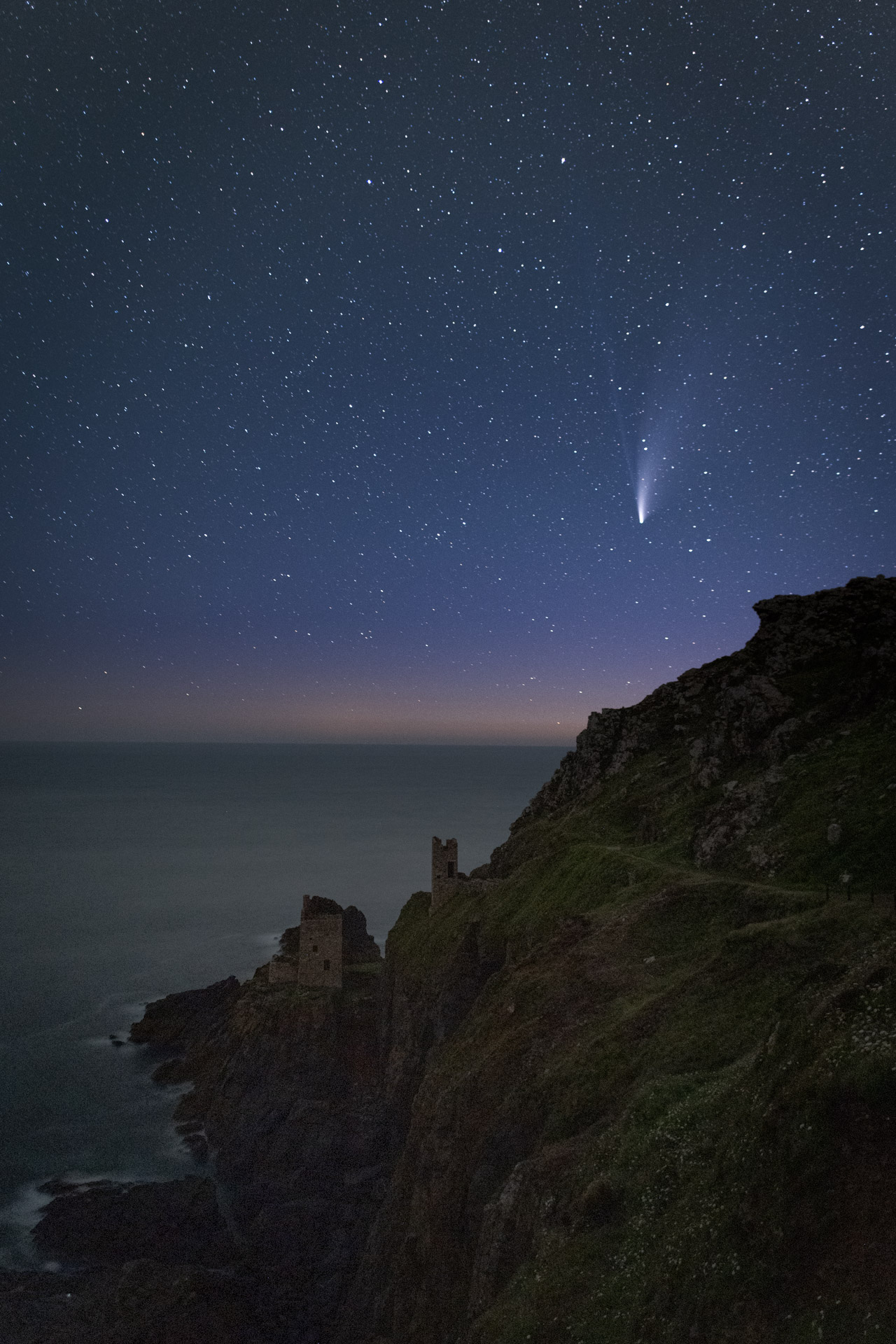 Botallack with Neowise Comet by Chris Colyer